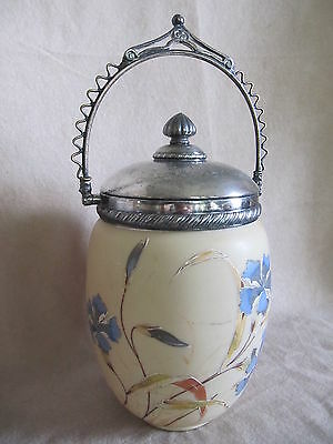 Antique Custard Glass Covered  Biscuit Jar With Hand Painted Flowers Vgc