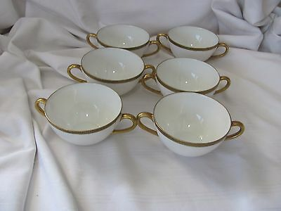 Hutschenreuther Selb 6 handled cream soup cups gold black greek key pattern