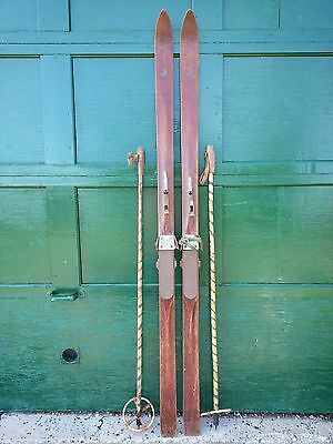 "ANTIQUE PATINA Skis 78"" Long with Metal Bindings and OLD Bamboo Poles Sign EATON"