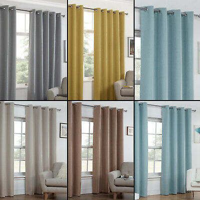 Textured Woven Plain Thermal Blockout Linen Look Pair Eyelet Ring Top Curtains