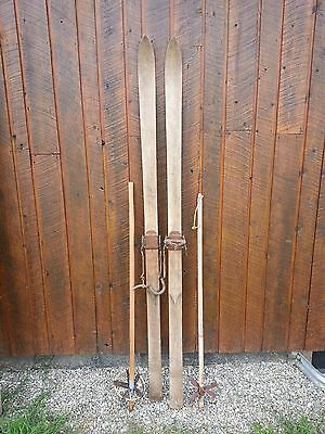 """OLD PATINA Skis 81"""" Long with Metal Bindings and OLD Bamboo Poles"""