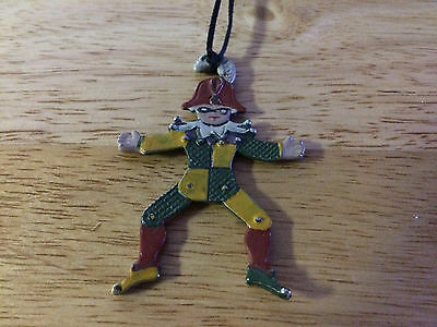 Rare Antique Harlequin Puppet Pendant Double-Sided Design Joints Don't Move