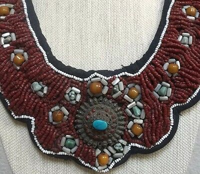 Antique Himalayan Tibetan Ethnic Tribal Collar Bib Necklace