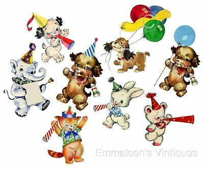 Vintage Images 8 Party Animals Bear Puppy Bunny Kitten Waterslide Decals AN653