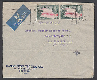 Ceylon Sc 285 pair on 1938 Air Mail Cover to Hamburg, Germany