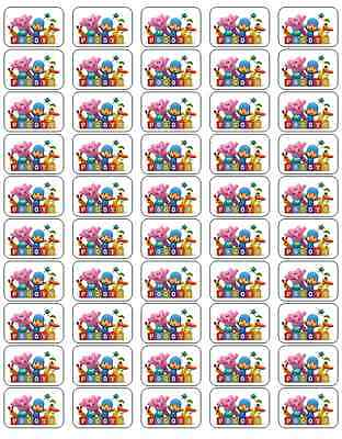 "50 Pocoyo Envelope Seals / Labels / Stickers, 1"" by 1.5"""