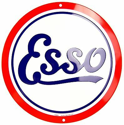 "Esso Oil Retro Gasoline Logo Embossed Metal 12"" Circle Sign"