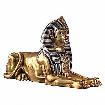 Ancient Egyptian Alexandra Great Sphinx Gold & Ebony Sculpture