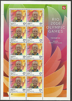 Australia 2016 Tom Burton Men's Sailing Rio Olympic Games Gold Medal Sheet Mnh
