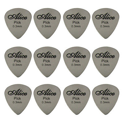 Alice 12pcs Electric Guitar Picks Stainless Steel Plectrums 0.3mm Metal Picks