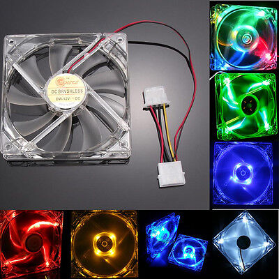 Quad 4-LED Light Neon Clear PC Computer Case Cooling Fan Mod Heat Sink 120MM Lot