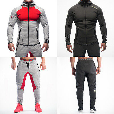 Men Gym Fitness Muscle Bodybuilding Athletic Hoodies Zipper Pullover Sweatshirt