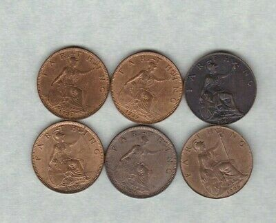 1912/1923 & 1926 George V Bronze Farthings In Near Mint Condition