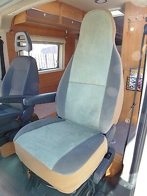To Fit A Peugeot Boxer Motorhome, 2011, Seat Covers, Mint Green Velour, 2 Fronts