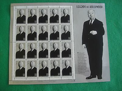 1998 Legends of Hollywood Alfred Hitchcock mint Sheet of 20 x 32 cent stamps