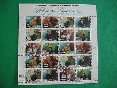 1998 hollywood composers mint sheet of 20 x 33 cent stamps