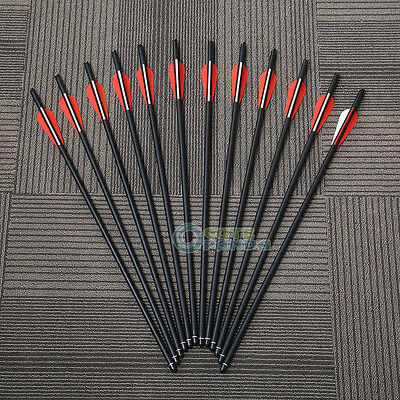 "12 Pcs Carbon Arrows 20"" Crossbow Bolts Red for Crossbow Hunting Archery Hunter"