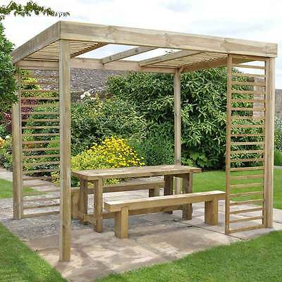 Dining Pergola with Moveble Panels Garden Structure Outdoor Frame