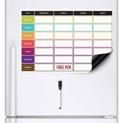 MEAL DIET PLANNER Dry Wipe Magnetic Fridge Whiteboard Board Weekly Family Prep