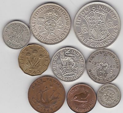 1943 George Vi Set Of 9 Coins Good Fine Or Better