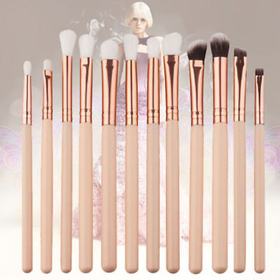 12Pcs Makeup Brushes Set Foundation Powder Eyeshadow Eyeliner Lip Eye Rose Gold