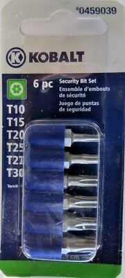 Kobalt 0459039 6 Piece Security Bit Torx Set T10 - T30