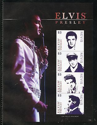 Nevis  Elvis Presley Imperforate Sheet Iii Mint Nh
