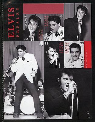 Nevis  Elvis Presley Imperforate Sheet Iv Mint Nh