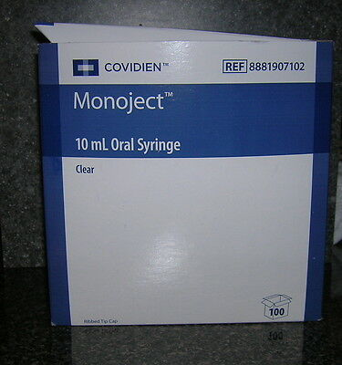 10cc MONOJECT ORAL Syringes10ml non-Sterile NEW Syringe 2 Tablespoon -100 Pack