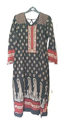 Ladies Black Lawn Cotton Kameez Tunic Kurti Kaftan Top Shirt M 12-14