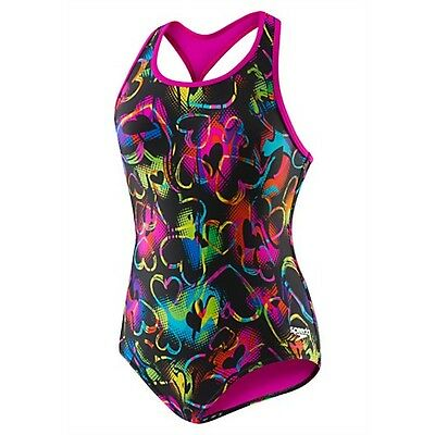 Nwt Girls Speedo 7714014  Neon Love Keyhole Thick Strap  Swimsuit $45