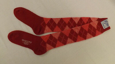 Vtg Red/Maroon Argyle Knee Socks 9-11 NOS  Orlon Acrylic Blend NOS Mod/Retro 70s