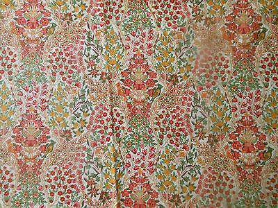 Antique Vtg Floral Bird Cotton Fabric ~ Colorful Small Scale Liberty look floral