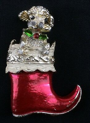 Vintage Gerry Christmas Lapel Pin Poodle in Red Stocking