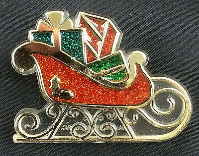 Vintage Hallmark Christmas Lapel Pin 1985 Gifts in Sleigh