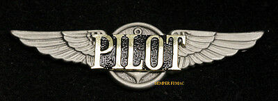 Pilot Pewter Wing Pin Up Private Solo Sport Full Size Airplane Jet Helicopter