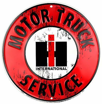"International Harvester Motor Truck Service Embossed Metal 12"" Circle Sign"