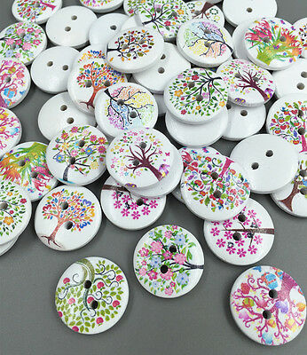 DIY Mixed Tree Pattern 2 Holes Wooden Buttons Sewing Scrapbooking Crafts 20mm