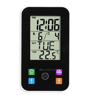 Touch LCD Digital Alarm Clock Thermometer Calendar Snooze Desk-top Wall Hanging