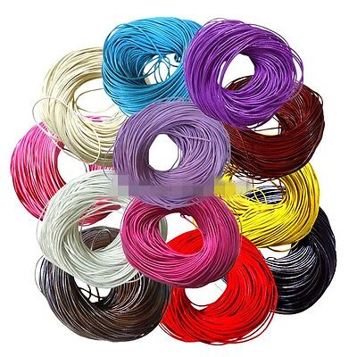10M/100M Real Leather Necklace Charms Rope String Cord Round 2mm For Jewelry DIY