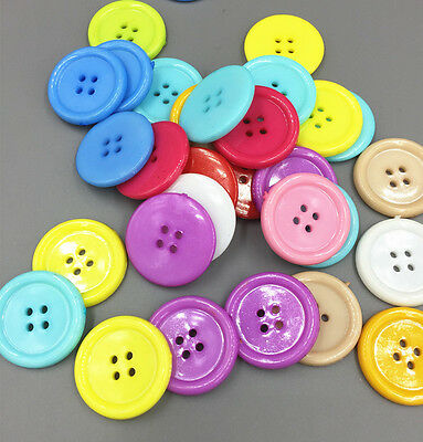Round Resin Sewing Buttons 4 Holes Mixed color Scrapbooking Craft 25mm/0.98in