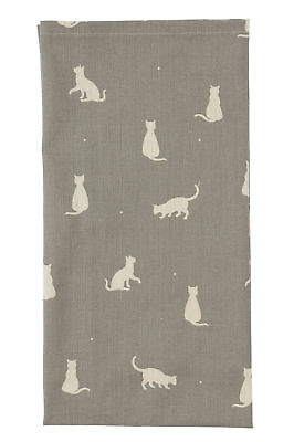 Dexam Happy Cats Single Tea Towel Stone Grey Kitchen Drying Cloth Textile New