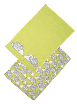Scion Dexam Spike Hedgehog Set of 2 Tea Towels Lime Green Kitchen Drying Cloth
