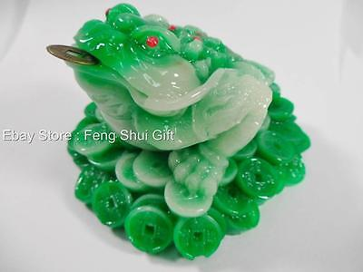 Green Jade Feng Shui Money Lucky Chinese Oriental Asian Wealth Coin Frog Toad #d