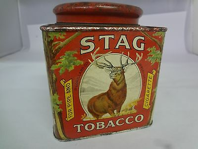 Vintage Advertising Tobacco Stag Small Canister Excellent Cond  Tin  274-Y