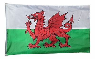 Wales National Flag Large 5ft x 3ft 100% Polyester Eyelets Cymru Welsh Dragon