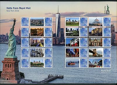 Great Britain 2016  New York Stamp Expo Statue Of Liberty Smilers Sheet  Mint Nh
