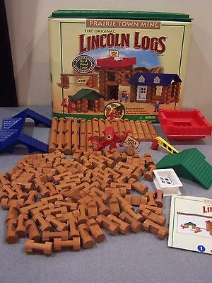 Original Lincoln Logs Prairie Town Mine Building Set Real Wood 2010 Not complete