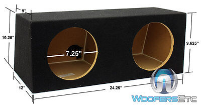 """Dual 8"""" Hb28 Mdf Wood Sealed Round Subwoofers Speakers Enclosure Bass Box New"""