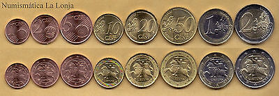 B-D-M Lituania Lithuania full set 8 coins 1 cent to 2 euros 2015 SC UNC